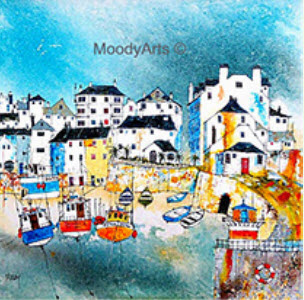 Moodys artwork of fishing port